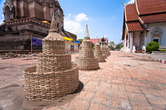 Sand pagoda for Song Kran Festival, Thailand. Temple will prepare wood structure of sand pagoda and people will bring sand to build in Song Kran Festival day royalty free stock photos