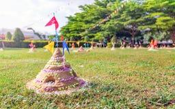 Sand pagoda in Thailand Songkran Festival. Sand pagoda that thai people has build by faith in Thailand Songkran Festival stock photography