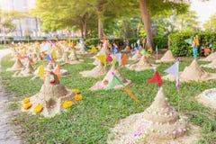 Sand pagoda in Thailand Songkran Festival. Sand pagoda that thai people has build by faith in Thailand Songkran Festival royalty free stock photography