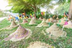 Sand pagoda in Thailand Songkran Festival. Sand pagoda that thai people has build by faith in Thailand Songkran Festival royalty free stock image