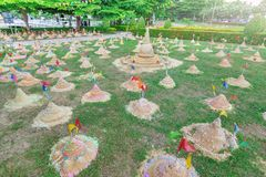 Sand pagoda in Thailand Songkran Festival. Sand pagoda that thai people has build by faith in Thailand Songkran Festival stock photos
