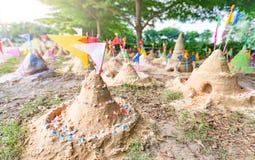 Sand pagoda in Thailand Songkran Festival. Sand pagoda that thai people has build by faith in Thailand Songkran Festival stock images