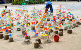 The sand pagoda. Which Thai people built for virtue for background use Stock Photography