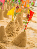 Sand Pagodas with colorful flags in Songkran Festival, Wat Pho, Royalty Free Stock Photo