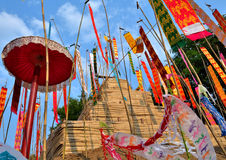 Sand pagodas and flag images Songkran festival. Fixed a case of northern Thailand, Chiang Mai Stock Photography