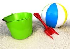 Sand Pail shovel and ballon on the beach. 3d rendered image of a sand pail a shovel and ball on the beach Stock Photography