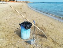 The cleanliness of the beach. Sand pail and shovel stock image