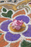 Sand  painting and flower Stock Images