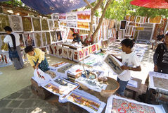 Sand painting in Myanmar Stock Photo