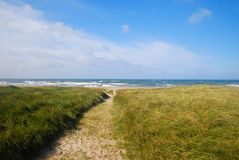 Sand path leading to the North sea royalty free stock photos