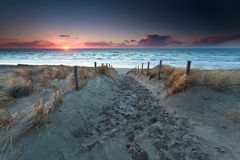 Sand path to beach on North sea at sunset Royalty Free Stock Photos