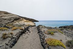 Sand path to the beach, Tenerife. Spain Royalty Free Stock Image