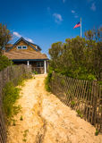 Sand path to a house in Ocean City, New Jersey. Stock Photo