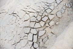 Sand pattern. Bonded and cracked sand pattern close up Royalty Free Stock Photo