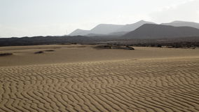 Sand pattern with mountains, , Park Natural, Corralejo, Fuerteve Stock Photography