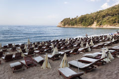The sand and pebble beach of Mogren in Budva Royalty Free Stock Images