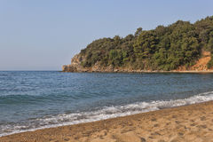 The sand and pebble beach of Mogren in Budva Stock Photography