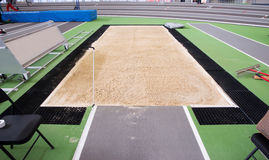The sand is perfect in the long jump pit Royalty Free Stock Images