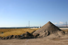 Sand Pile in Construction Site. By the Road Stock Image