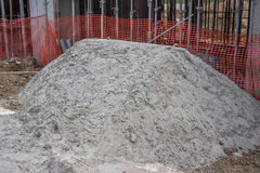 Sand pile at the a construction site Stock Images