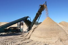 Sand Pile and Screening Machine Stock Photography