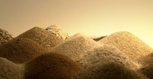 Sand piles in warm ambiance Stock Image