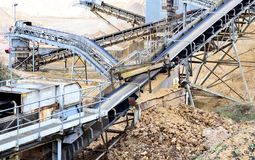 Sand Pit Conveyor Belts. Local static Aggregate pit machinery conveyor belts used for processing sand and stone at a local gravel pit in England Royalty Free Stock Image