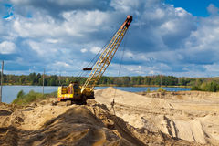 Sand pit in sunny day Royalty Free Stock Photography
