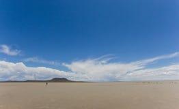 Sand plain and vulcano Royalty Free Stock Image