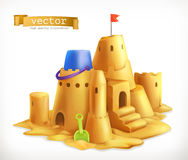 Sand play, sandcastle vector icon. Sand play, sandcastle 3d vector icon Royalty Free Stock Photo