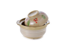 Sand pot ceramic with lid for cooking on white Stock Images