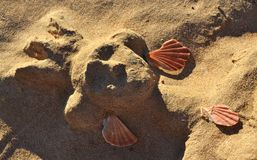 Sand princess head with shells Royalty Free Stock Photo