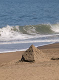 Sand Pyramid on Beach Royalty Free Stock Photography