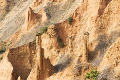 Sand pyramid formations. In Stob, Bulgaria formed by erosion and wind Royalty Free Stock Photography
