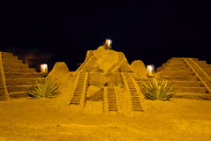 Sand pyramides at the beach Royalty Free Stock Images