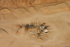 Sand quarry. Aerial of a quarry and sand heaps Stock Image