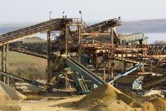 Sand quarry. Sand and gravel quarry mine stock photo