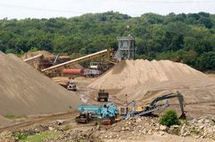 Sand Quarry. A working sand quarry in operation Royalty Free Stock Images