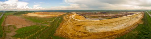 Sand quarry aerial panorama Royalty Free Stock Photo