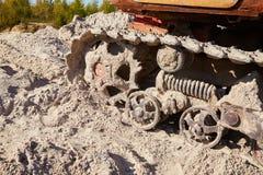 Sand quarry. Bulldozer working on sand dunes. Pure lake sand. stock photo