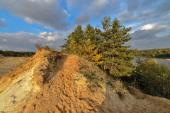 Sand quarry in the early autumn. Stock Photos