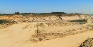Sand quarry, mining in the sunny day Stock Images