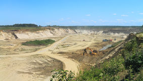 Sand quarry, mining in the sunny day Stock Photography