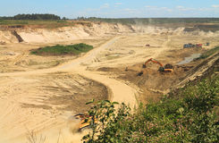 Sand quarry, mining in the sunny day. POLEWOJE, KALININGRAD REGION, RUSSIA — JUNE 18, 2014: Sand quarry, mining in the sunny day Stock Photos