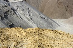 Sand quarry mounds of varied sands color Royalty Free Stock Photography