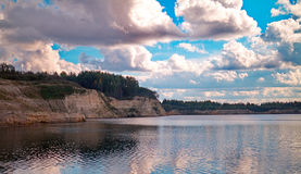 The Sand Quarry. View of the old sand pit filled with water Royalty Free Stock Photography