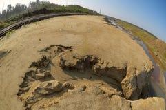 Sand ravine and railway Royalty Free Stock Photo