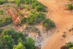 The sand of Red dunes in Mui Ne Vietnam stock image
