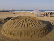 A sand replica of Moses Mabhida Stadium, South Afr Stock Image
