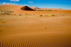 Sand riffles in desert and dunes in Namib Desert, Namibia. Orange dunes in Sossusvlei, Namibia stock image